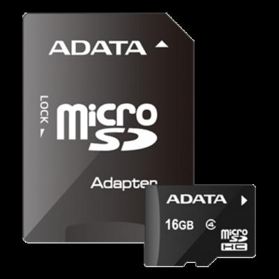 MICRO SD CARD 16GB Adata CL4 A1 adapterrel AUSDH16GCL4-RA1