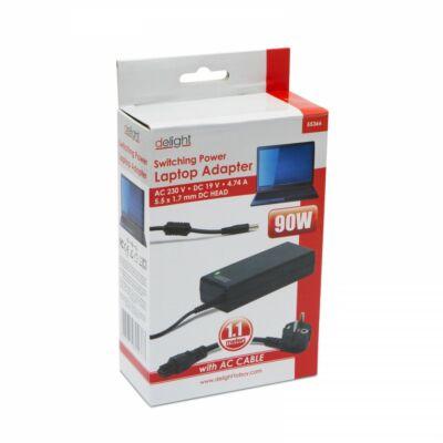 Delight 55366 90W Acer, Dell notebook töltő 19V, 4,74A, 5,5x1,7 mm
