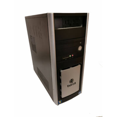 Terra torony fekete-ezüst számítógépház