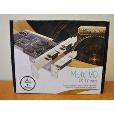 Multi I/O 1x LTP (párhuzamos)/ 2x COM (soros) port PCI kártya ÚJ