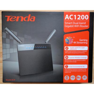 Tenda AC9 AC1200 1200Mbps 2 ant. wifi router 1xWAN, 4xgigabit LAN ÚJ bontott